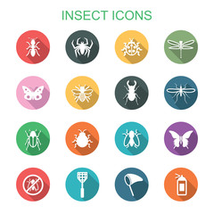 insect long shadow icons