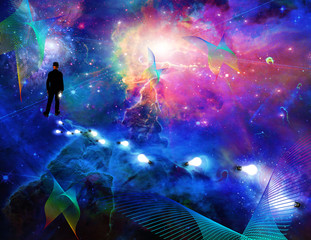 Man considering the expanse of space