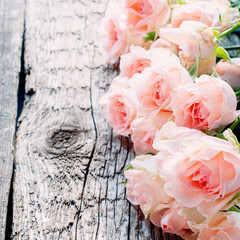 Pink Roses on Wooden Table, toned image square