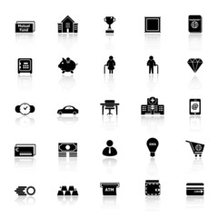 Personal financial icons with reflect on white background