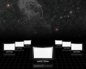 Screens on black with starry sky