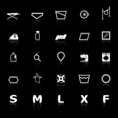 Cloth care sign and symbol icons with reflect on black backgroun