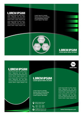 brochure design template waves trifold