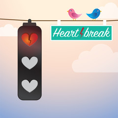Heartbreak Sign on traffic light with birds on wire.