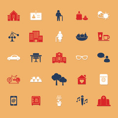 Retirement community flat icons with shadow