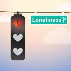 Loneliness Ahead, Heartbreak Sign on traffic light