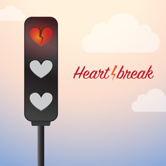 Creative Concept - Heartbreak Sign, with clouds background.