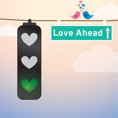 Love Lights, Love Ahead Road Sign with Birds sitting on wire
