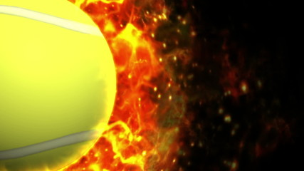 Fiery Tennis Ball Background