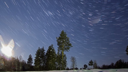 Night winter landscape. Line. Time Lapse. 4K