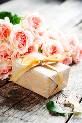 Gift Box and Tender Pink Roses