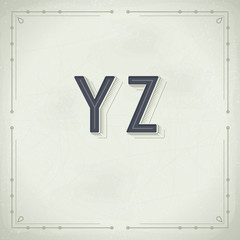 Vector Retro Font from Y to Z. Vintage Typography