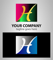 Letter H logo symbol design template elements with square icon