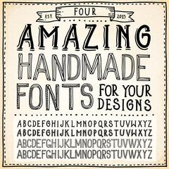Handwriting Alphabets. Vector Hand Drawn Fonts