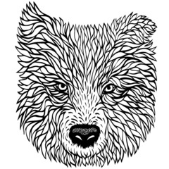 Black and white portrait of a dog, vector graphics