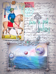 Scrapbook and collage with rider of sword and seaside