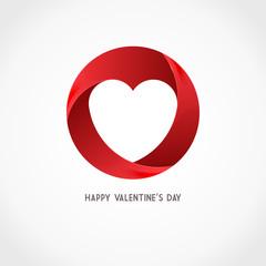 Vector Heart Ribbon Logo Design Template