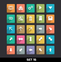 Trendy Vector Icons With Long Shadow Set 16