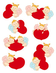 Set with cupids for Valentine's Day