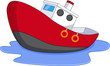 Cartoon boat with water - 76289835