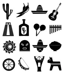 Mexico icons set