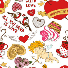 Seamless pattern with funny cartoon love elements