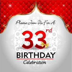 celebrating 33 years birthday, Golden red royal background
