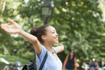 Beautiful Mixed-Race Young Woman at Park, Sense of Freedom