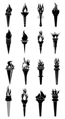 fire torch icons set