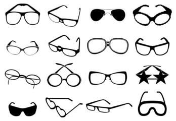 Eye glasses icons set