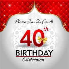 celebrating 40 years birthday, Golden red royal background