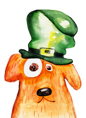 Red dog. St. Patrick's day. Watercolor