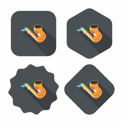 saxophone flat icon with long shadow,eps10