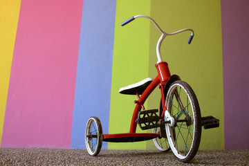 Red Kids Bike Colorful Background