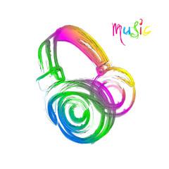 Grunge color light Headphones, easy all editable