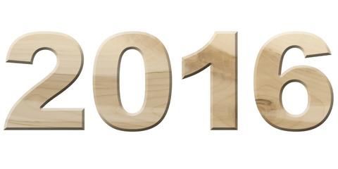 2016 aus hellem Ahornholz, freigestellt, Gutes neues Jahr!