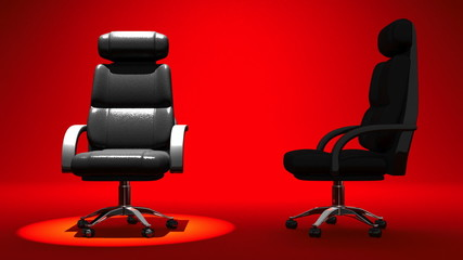 Two Spotlighted Business Chairs On Red Background