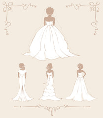 Collection illustration -- bride in dresses