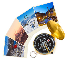 Mountains ski Austria images and compass