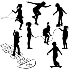 Active kids. Children on roller skates, jumping rope or playing