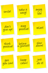 Set of sheets of paper with motivational and positive thinking m
