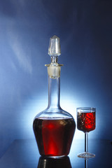 Decanter and glass with liqueur