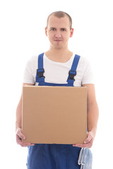 delivery concept - happy man in workwear with cardboard box isol