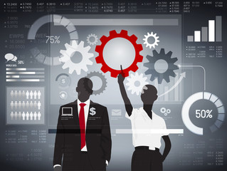 Finance Analizing Team Corporate Collaboration Concept