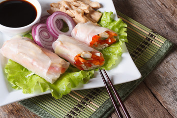 spring rolls with chicken and vegetables horizontal top view