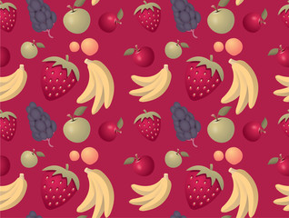 Fruits pattern background - seamless with mixed fruits