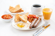 delicious English breakfast with sausages - 76293855