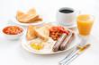 Leinwandbild Motiv delicious English breakfast with sausages