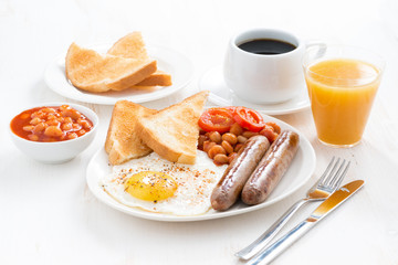 delicious English breakfast with sausages