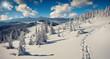 Sunny winter panorama of the Carpathian mountains